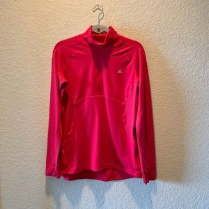 Hot Pink Adidas climalite half zip active top, L
